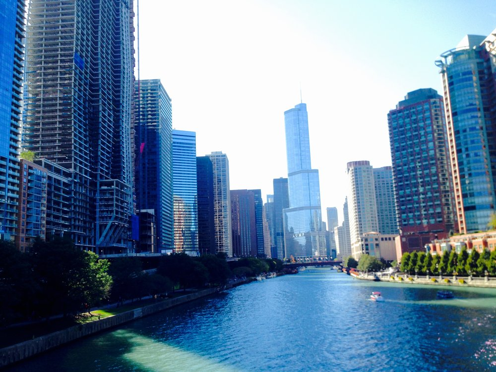 View up the Chicago River - Trump tower in background