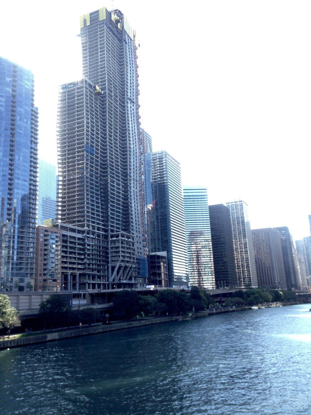 Condominiums under construction.  Studio Gang