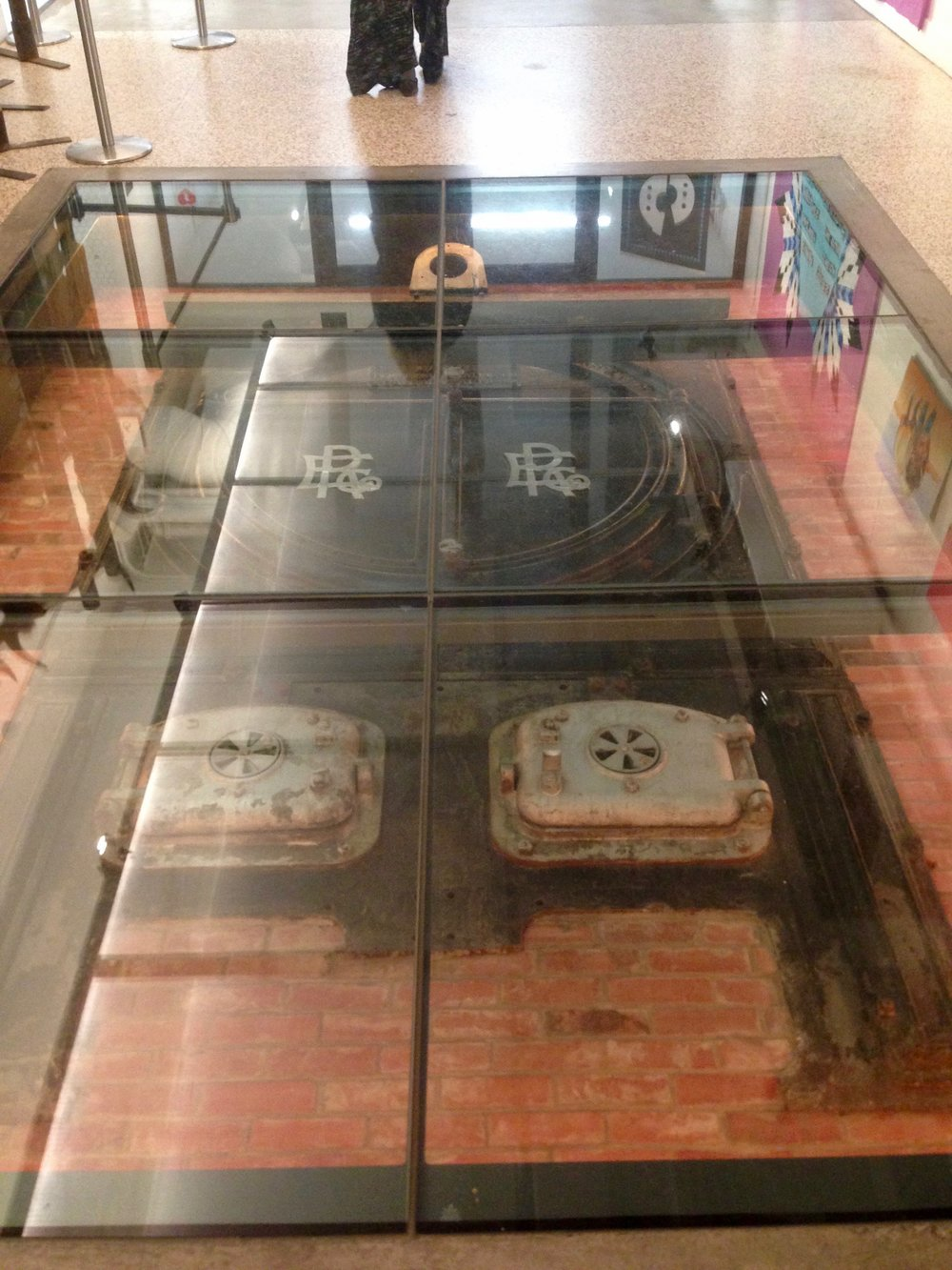 Old Boiler fronts as artifacts in the floor