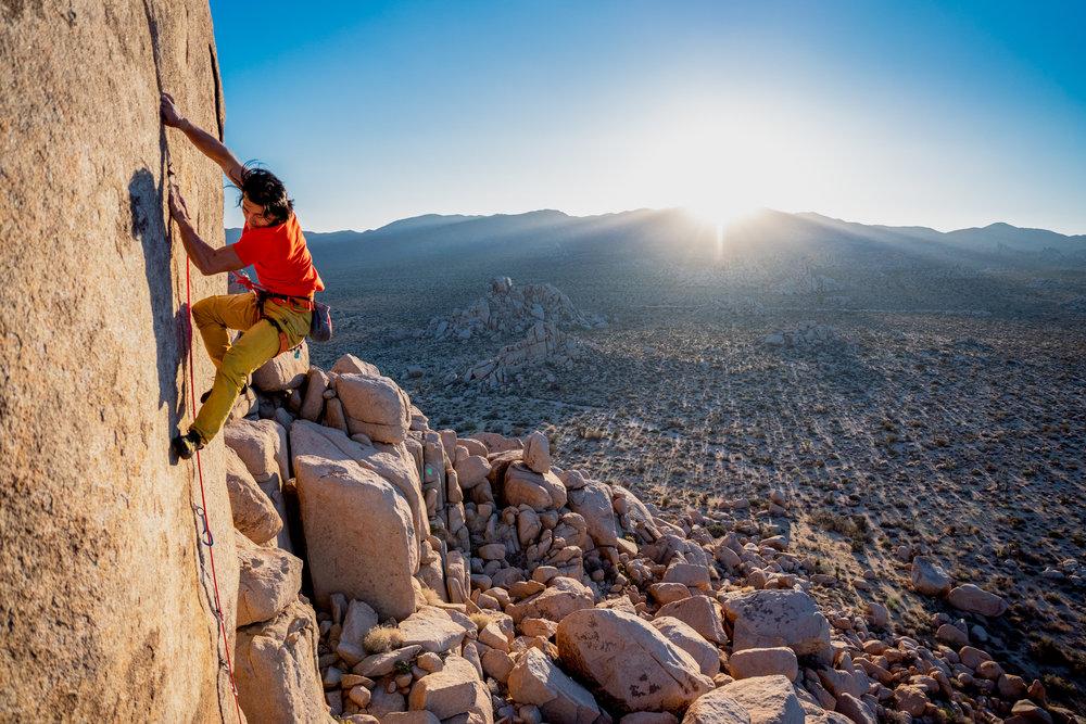 Professional Chinese climber Abond climbing Equinox in Joshua Tree. Photo: Ben Horton