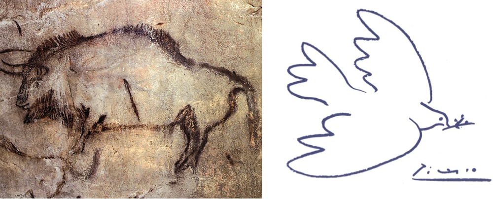 Left: Cave Paintings; Right: Picasso's line drawing