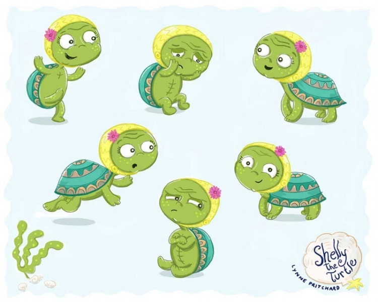 Character sketches of Shelley the little Turtle who wants to find her way home