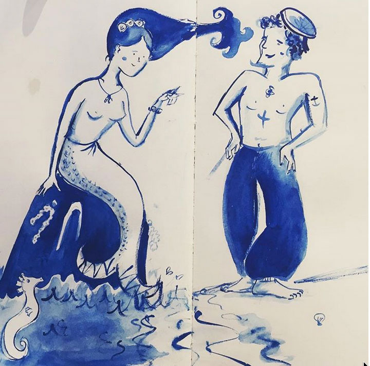 Cheeky mermaid and sailor sketch, freehand using ink became the inspiration behind a design I created for my friends wedding. I think I will use this pair again. They remind me of a Staffordshire pottery figures.