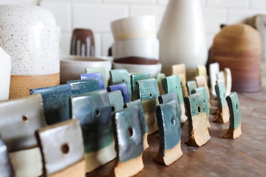 Ceramic test tiles fresh out of a glaze firing.