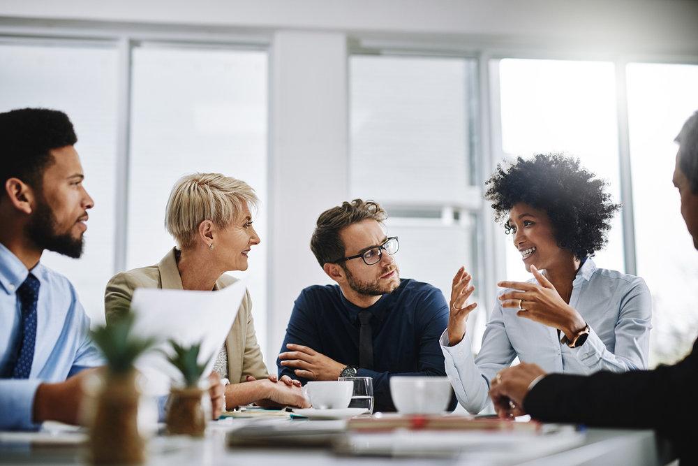 People sat in a meeting