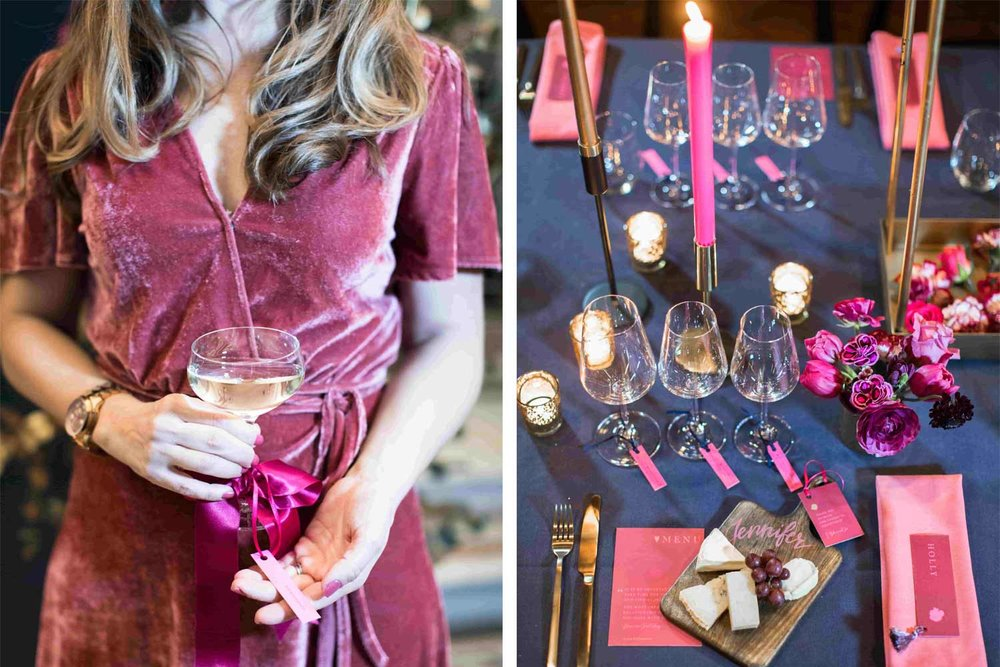Personal touches such as glass tags and favours like these from Jennifer's Paper are a big trend for 2019. (Photography by    Cecelina Photography   )