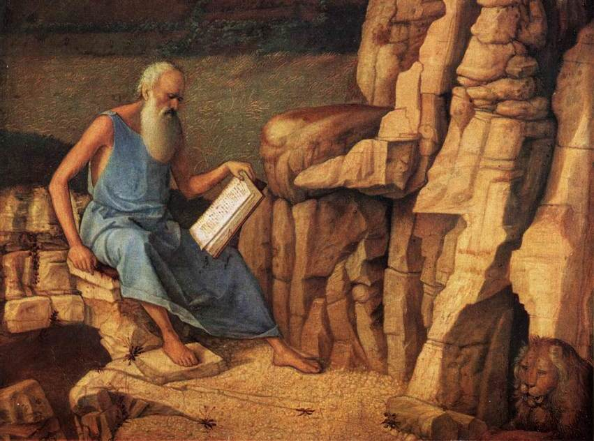 DETAIL FROM GIOVANNI BELLINI'S  SAINT JEROME READING IN A LANDSCAPE , CA. 1480–5.