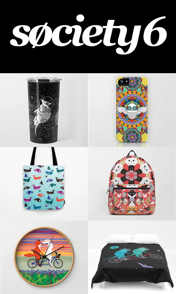 Order high quality art prints directly from me, but check out the  Whale Yes store on Society6  for fun products that I don't carry at art fairs, like clocks, bags, and more!