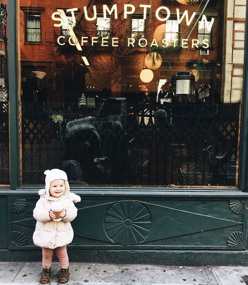 Coffee lover just like mommy! Here at  Stumptown Coffee Roasters  in Greenwich Village NYC