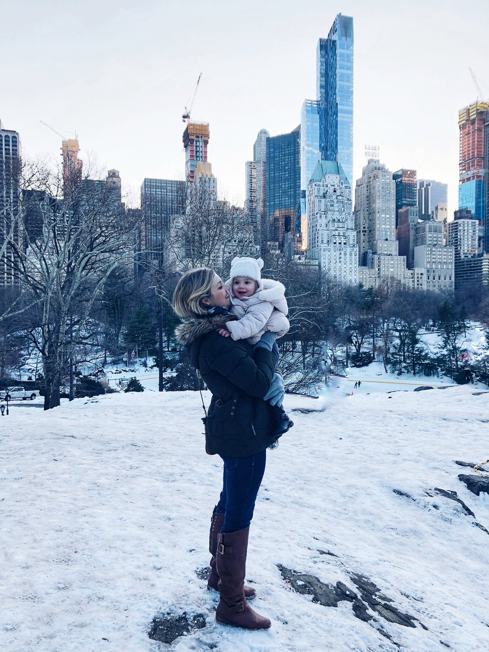 Central Park over looking the city skyline on a freezing day with my sisters and nieces!