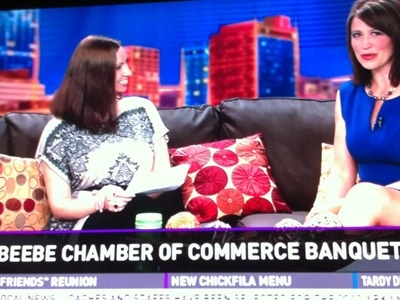 Meredith Events' Owner, Meredith Corning, appears on THV 11 to promote the Beebe Chamber of Commerce annual banquet held at ASU-Beebe.
