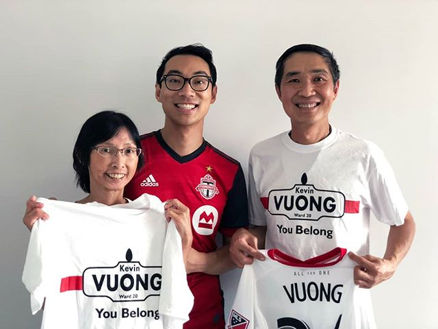 Today, my parents celebrated their 3⃣0⃣th Pearl Wedding Anniversary so ofc we went for dim sum! 💒 . @KarelVuong got mom this humongous monitor, and I got my dad a custom @TorontoFC jersey (go Reds!). . My dad also insisted on joining our #Ward20 canvass today! ❤️ #YouBelong