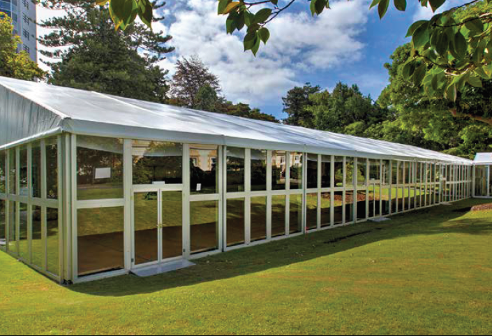 THE PAVILION - The deluxe pavilion marquee is an aluminium frame with a combination of glass and solid wall panels, fabric roof, and wooden cassette floor. The Pavilion provides over 1000m2 of flexible event space suitable for every occasion.Typically sited on the lawn of Old Government House, one of the most historic buildings in New Zealand, offering a unique space for your next event.