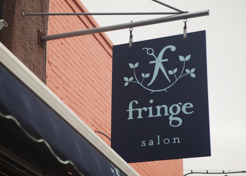Fringe BK modern hair salon Logo. Scissors and vines. Feminine blue logo.  Female owned hair salon New York.