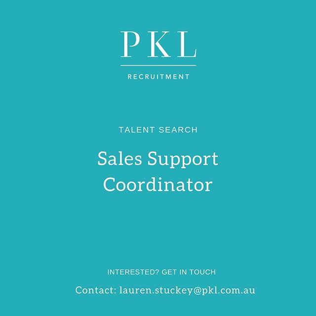New Role with Temp to Perm opportunity! We are currently recruiting for a Sales Support Coordinator to work in a fast growing team in the medical industry. Does this sound like you? 📩 Contact: lauren.stuckey@pkl.com.au #pklrecruitment #pklpositions