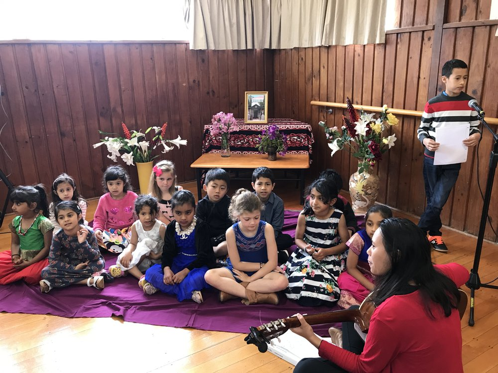 As part of the celebration at the Browns Bay Bahá'í Centre in Auckland, a number of songs learned in children's classes were performed.