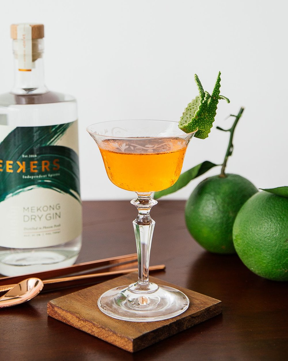 The Magarian - A Beauty, inside and out. Elegant, smooth, medium sweet.30ml Seekers Mekong Dry Gin15ml Aperol15ml Martini Dry VermouthStir all ingredients in a mixing glass with ice. Strain into a coupe glass. Garnish with a green orange twist.