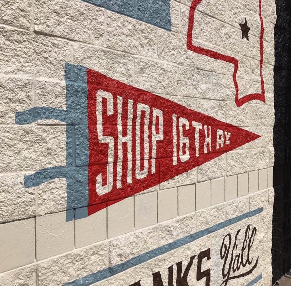 Shop 16th mural at Rubies Home Furnishings in Laurel
