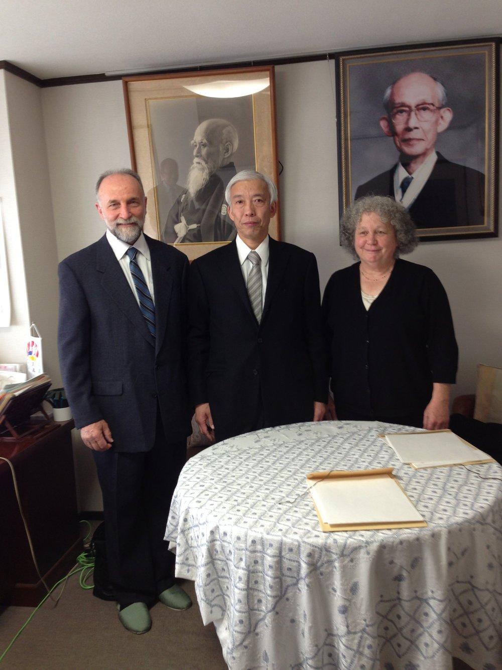 Ben & Deborah with Doshu in office.jpg