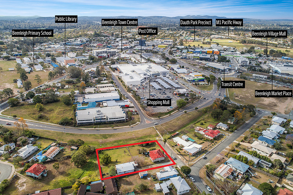 Development site looking north over Beenleigh Town Centre. 400m walk to transit centre.