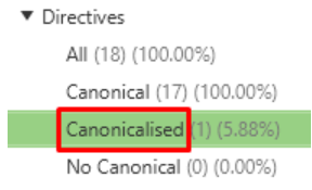 Go to Directives > Canonicalised in Screaming Frog to view URLs and their canonical link elements.