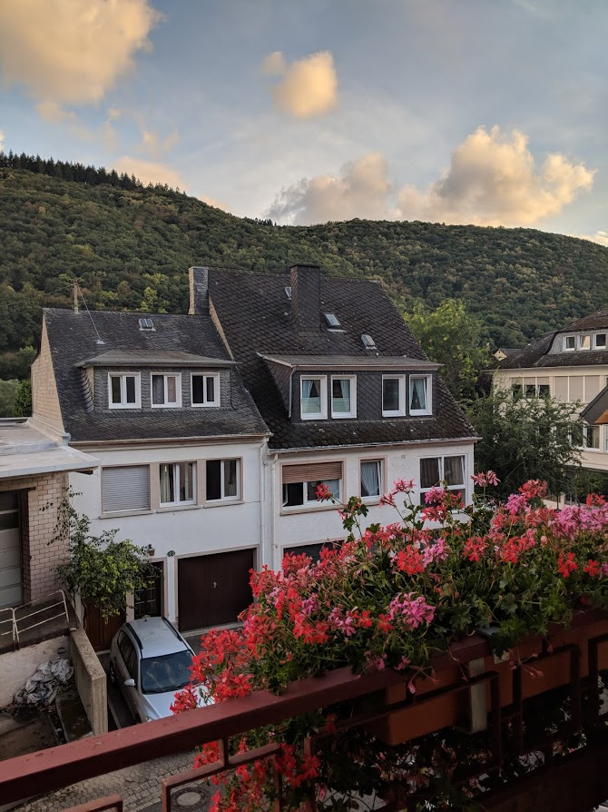 View from our balcony at the Boutique Hotel Rebenhof in Valwig, Germany.