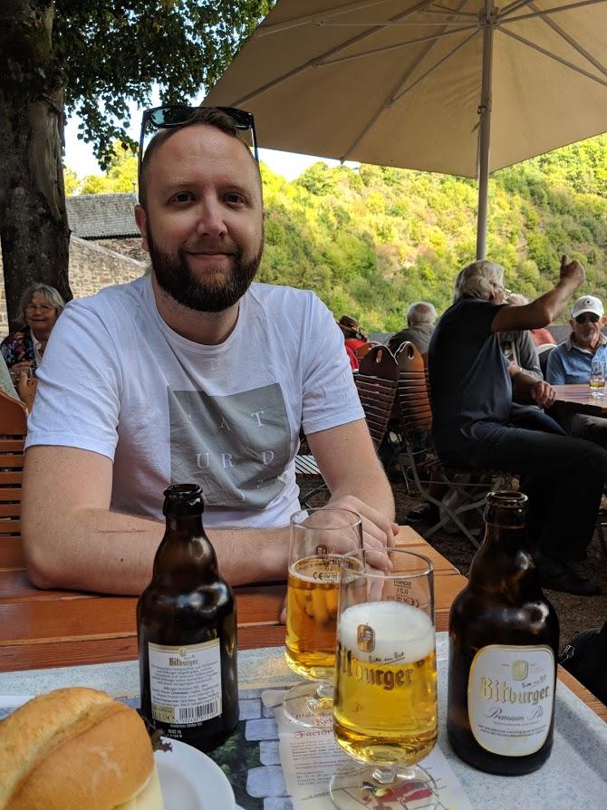 Eating lunch at Eltz Castle