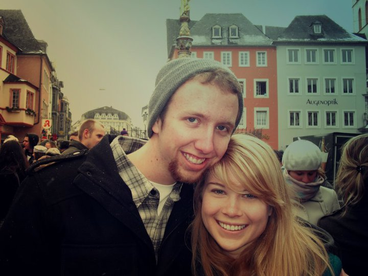 "Me and my ""friend"" Chris in Trier's Hauptmarkt for Fasching (2010). What 20-year-old Kammie wanted you to know from this photo editing masterpiece was that I was very cool, like  listening-to-Passion-Pit-records-in-Urban-Outfitters  cool."