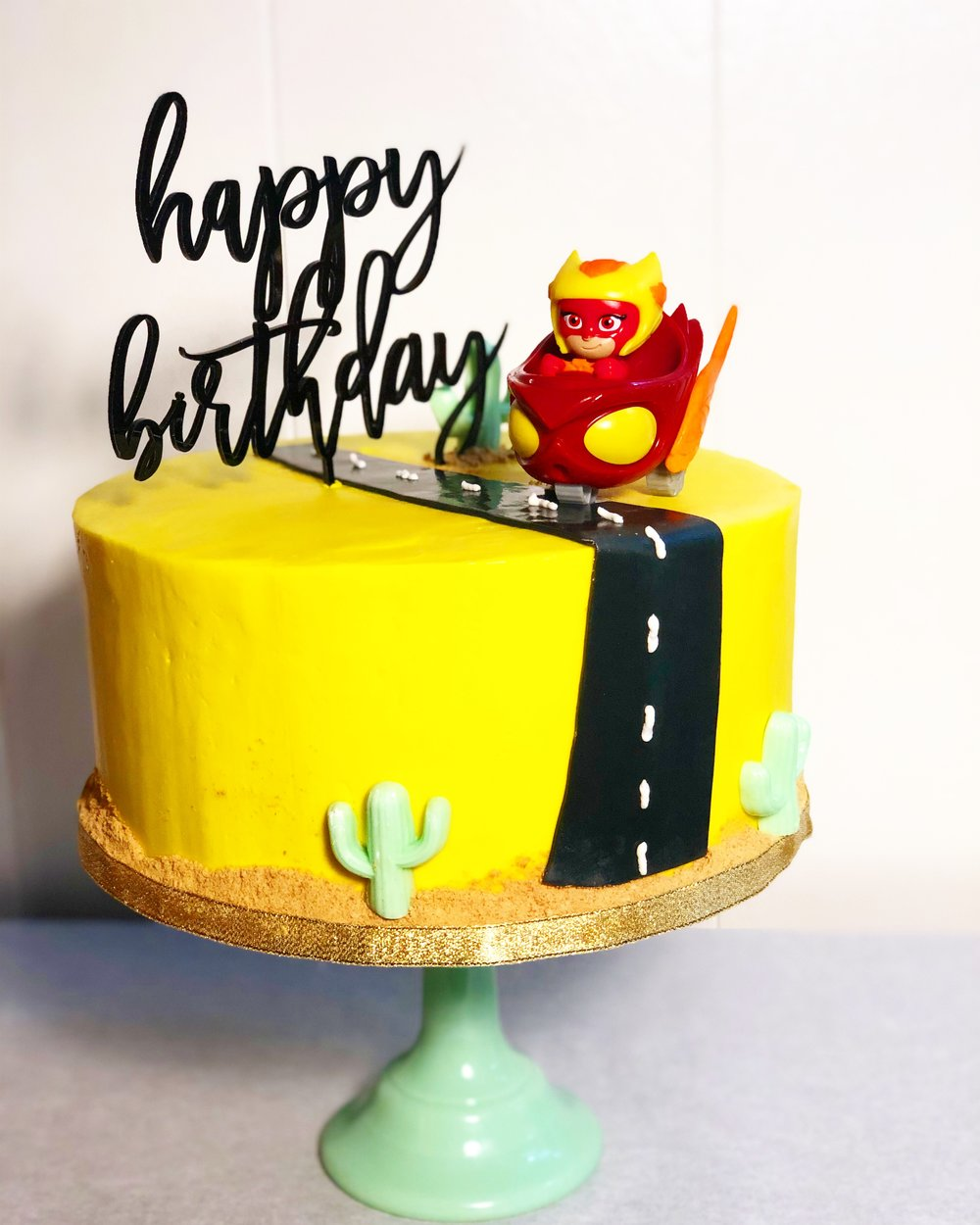 Yellow PJ Mask Birthday Cake.JPG