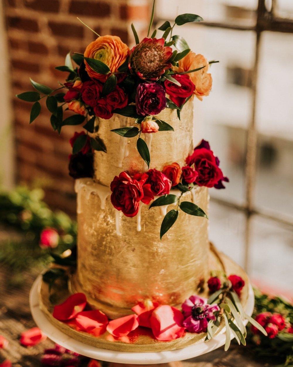 Gold Foil - Bright Floral - Wedding Cake - Mwokaji Cakery .jpg