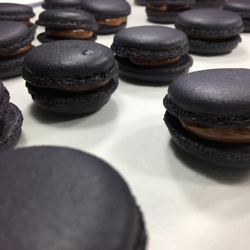 Black Dark Chocolate French Macarons.JPG