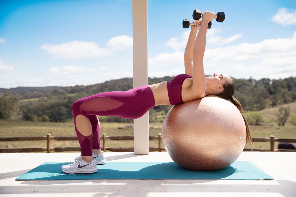 ROSE GOLD SWISS BALL + AKTIVAAL YOGA MAT + HEX DUMBBELLS