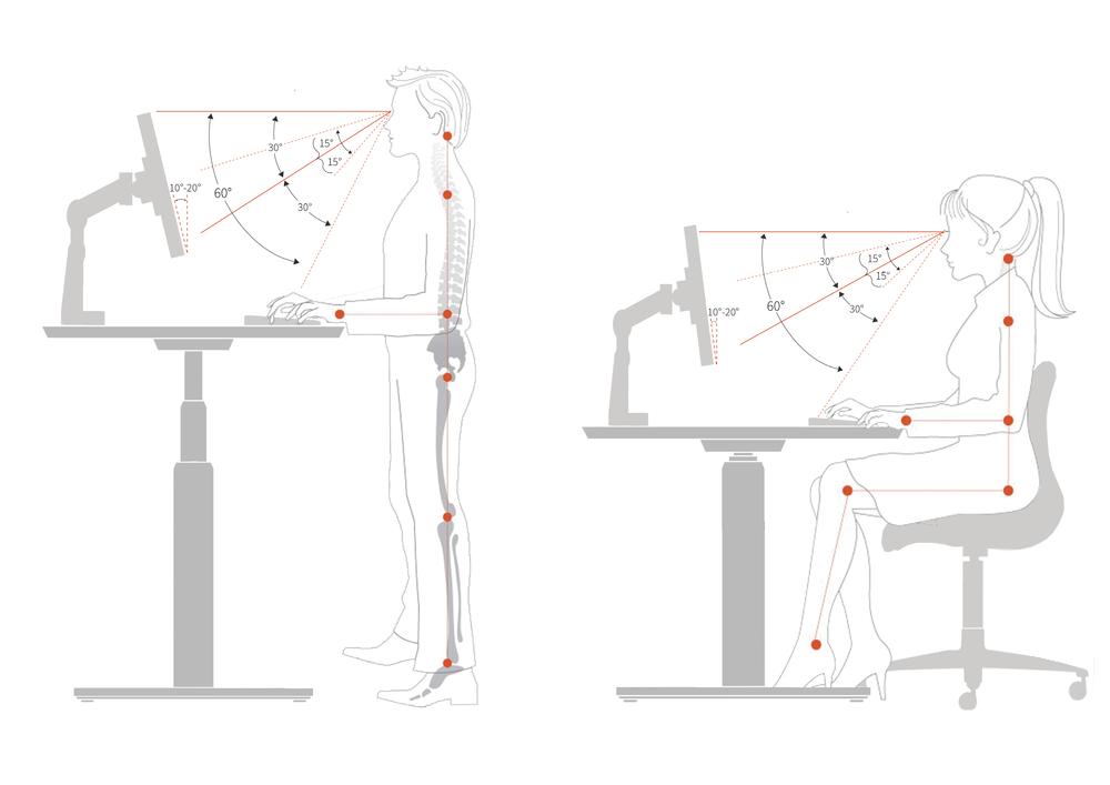Ergonomska drža za dvižno pisalno mizo.