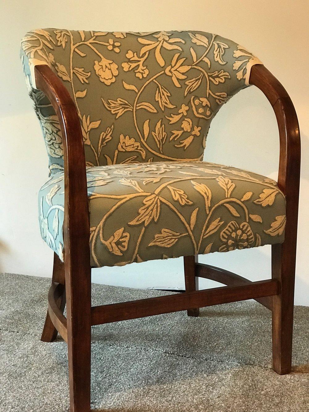 Bedroom chair recoverd in vintage piece of crewel work.jpg