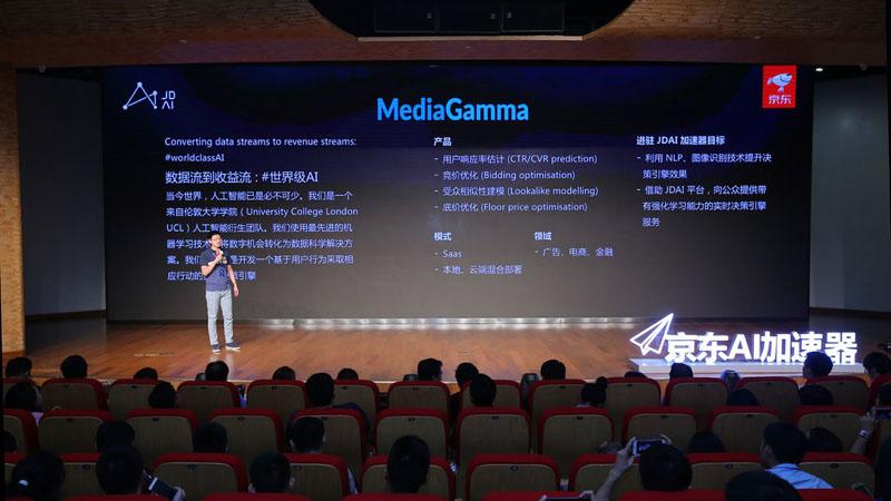 MediaGamma's Dr. Shuai Yuan presents at the launch of the JD.com global AI Accelerator