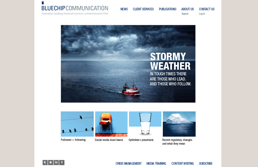 Web design for Bluechip Communication