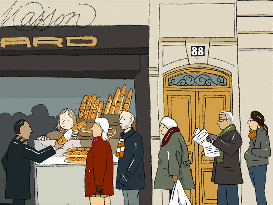 Paris: waiting for fresh baguettes