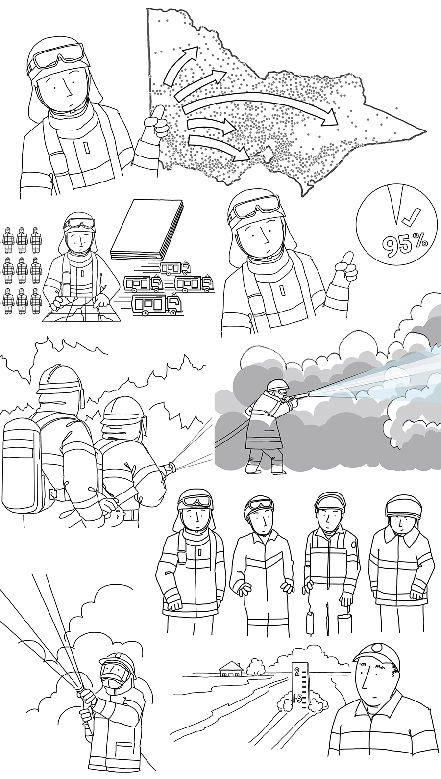 Volunteer fire brigade – whiteboard animation stills