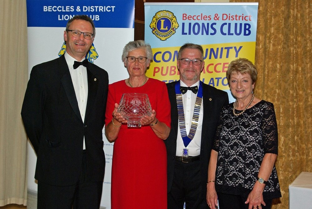 From Left to Right – Waveney MP Lion Peter Aldous, Sarah Jane Lavington 2018 Ivan Holmes Community Award recipient, Club President Lion Chris Ramsden and Mandy Holmes.