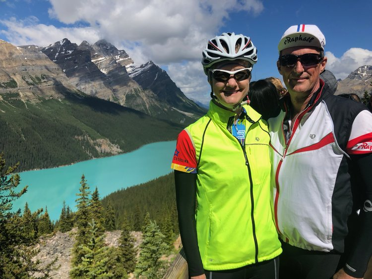 At the top of Bow Summit, looking out at Peyto Lake. A mostly downhill, 100km ride takes you back to Banff.
