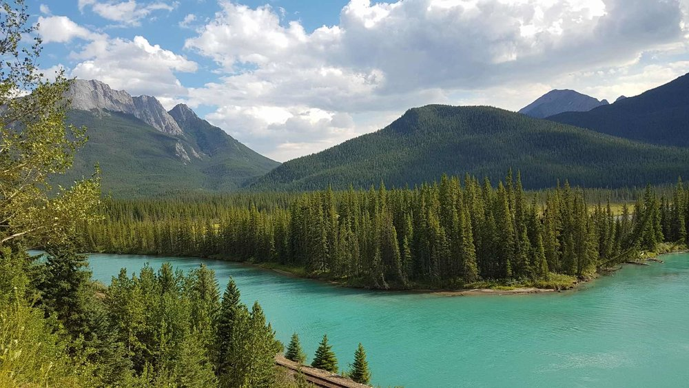 One of the many stunning views of the Bow River and Rocky Mountains along Highway 1A between Lake Louise and Banff.