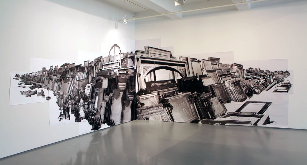 Cache, 2011-2012, Ink jet photos in corner, 28 feet across