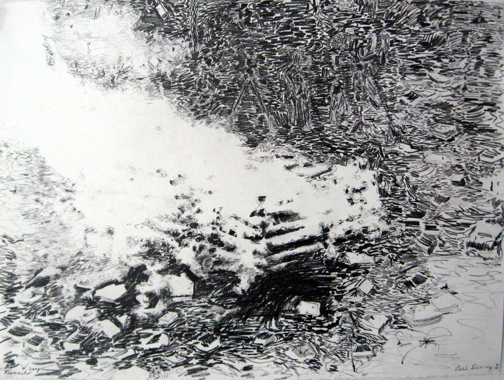 Book Burning with Flares, 2009, Graphite on paper