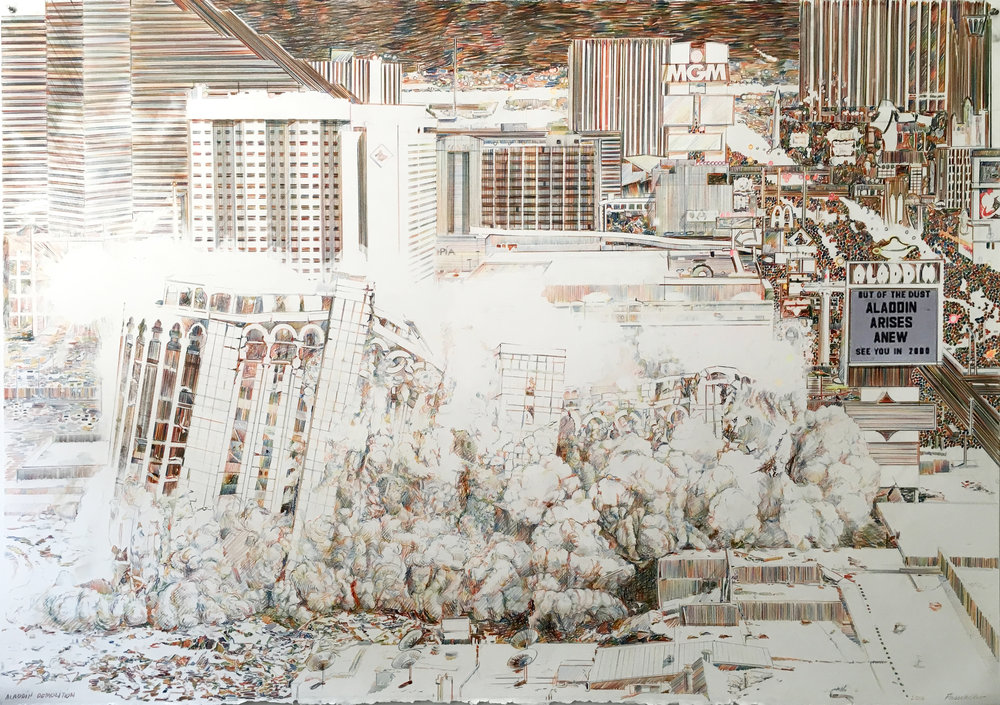 Aladdin Demolition, Las Vegas, 2016, Colored pencil and graphite on paper, 40 x 60 inches