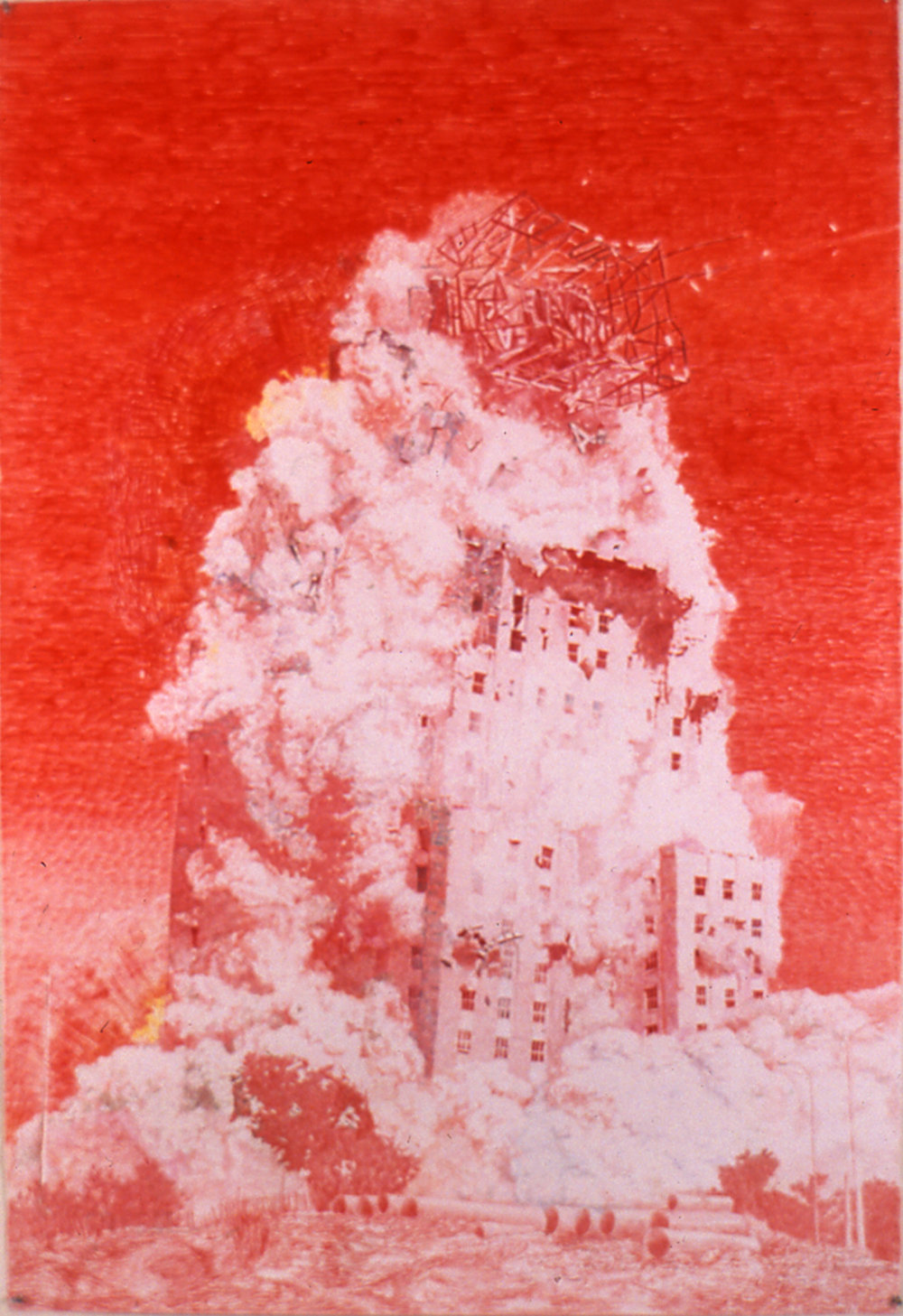 Red Demo, 2000, Colored pencil on paper, 60 x 41 inches, Private Collection