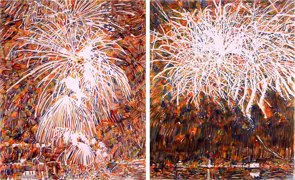 Fireworks III, 2002, Quattro Colored Pencil on Paper, 17 1/2 x 14 inches