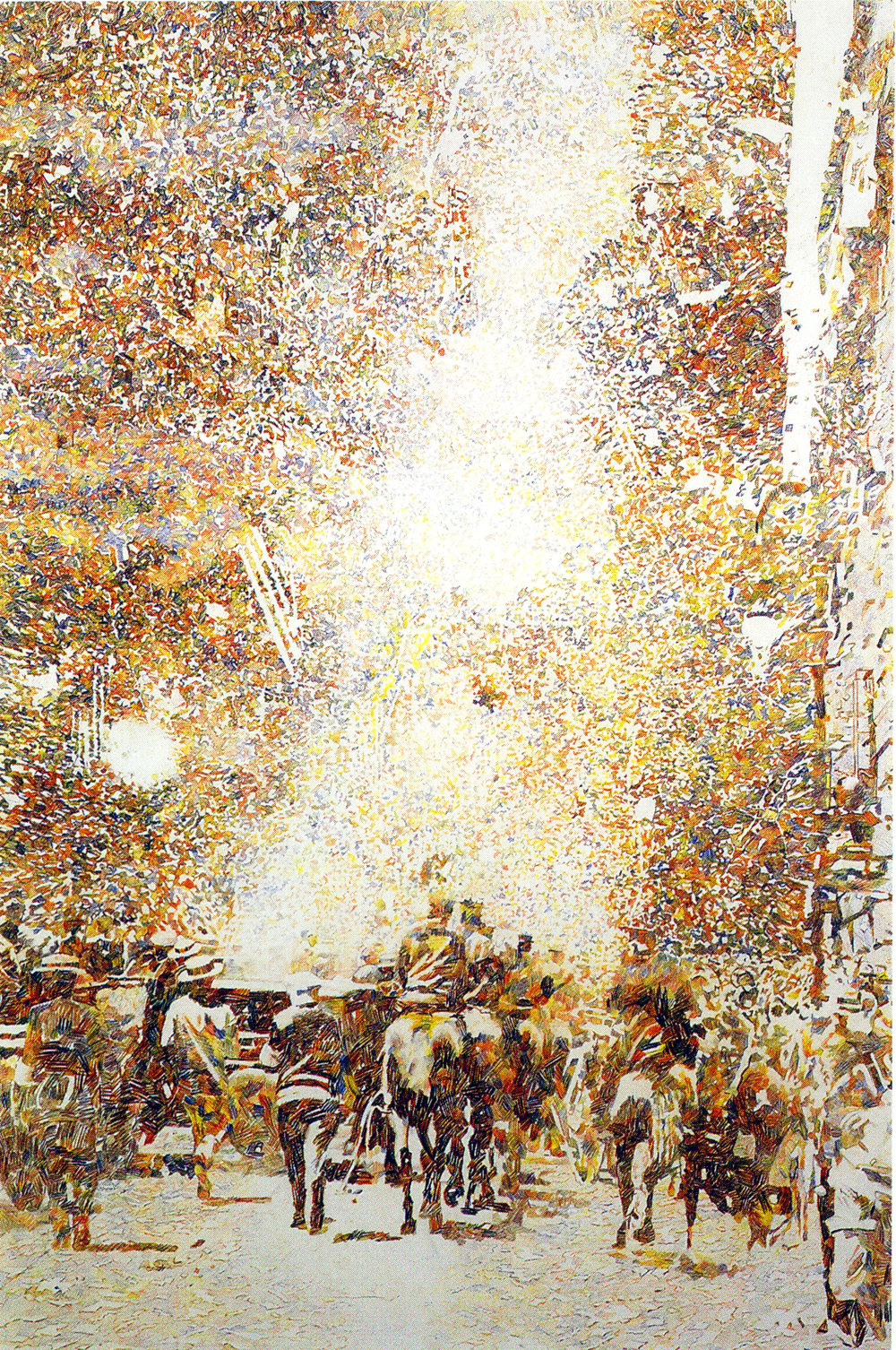 Ticker Tape Parade II, 2001-2002, Colored pencil on paper, 60 x 40 inches, Neuberger Berman Collection