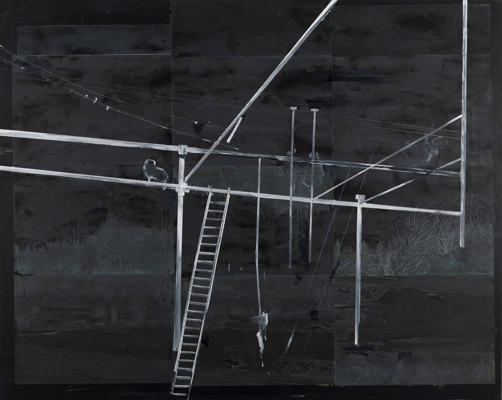 Jungle Gym at Night, 2018,  Acrylic paint on manipulated photo mounted on Wood Panel; 48 x 60 inches