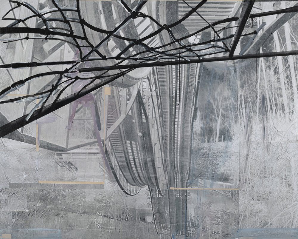 Mystic Timbers, 2019,  Acrylic paint on manipulated photo mounted on Wood Panel; 48 x 60 inches