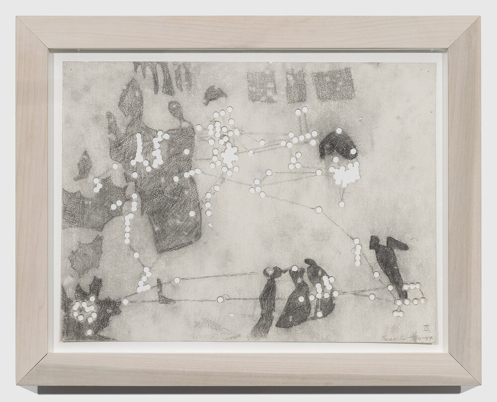 REM 2, 1996-97, Graphite on paper with holes, 15 x 20 inches